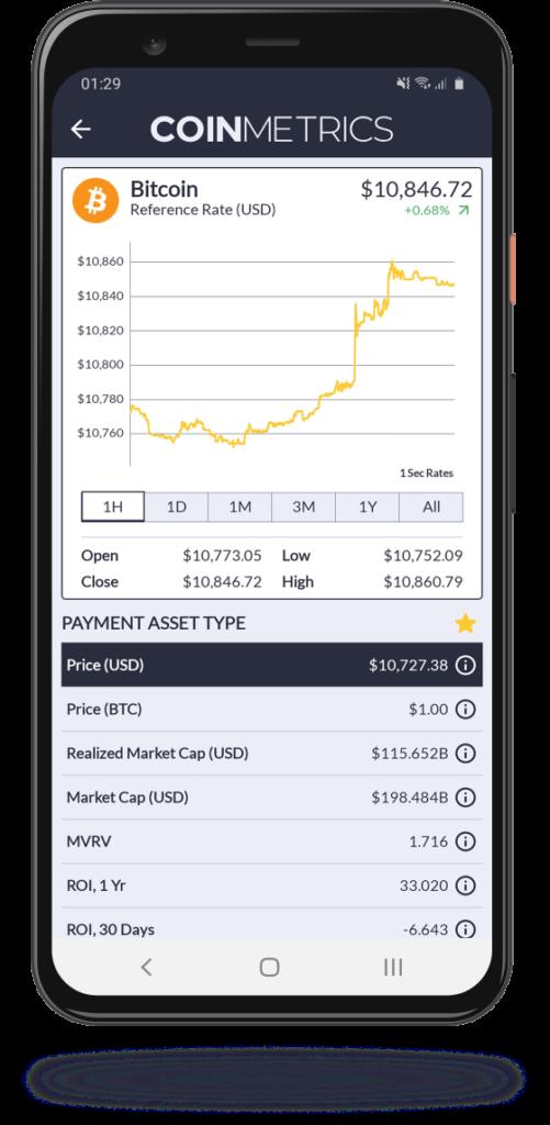 Coin Metrics Mobile App Explore